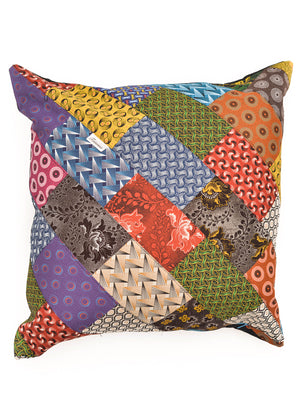 Multicoloured, patchwork shweshwe cushion covers.