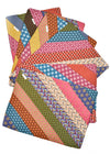Image of six multicoloured, striped shweshwe placemats by Totoma.