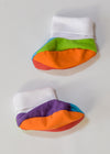 cute totoma rainbow booties left side photoshoot