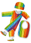 Totoma raimbow romper set - romper, beanie, slippers and bib