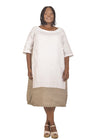 Baroque - White and Taupe Linen Dress