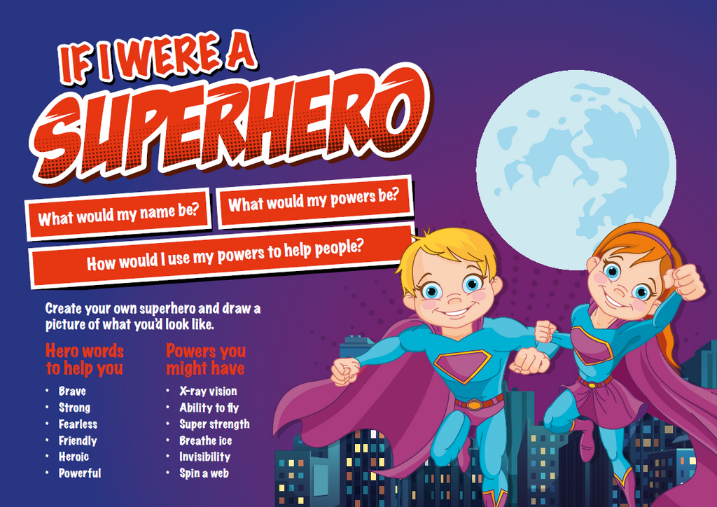 Design your own superhero - colour varies red or blue - I Did It