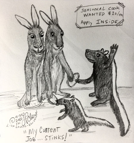 SKUNKED, Book 14, Illustration 22, ADVENTURES OF THE COURTLY COTTONTAILS by Lisa Loucks-Christenson