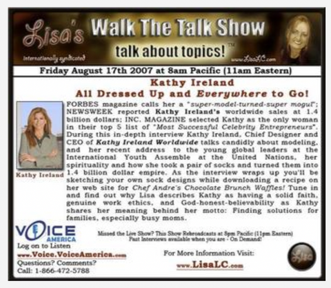 Kathy Ireland aired on Lisa's Walk The Talk Show