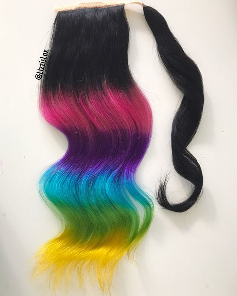 Rainbow Ponytail Extension w Black Base