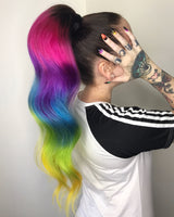 Rainbow Ponytail Extension w Dark Brown Base