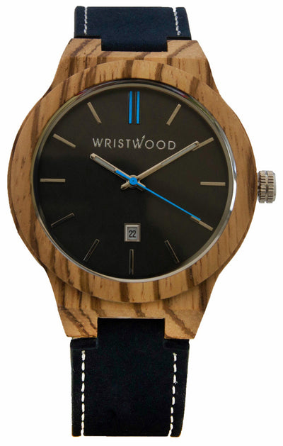 Zebrawood & Sky Blue on Navy Suede