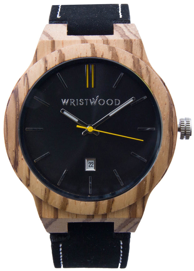 Zebrawood & Yellow on Black Suede