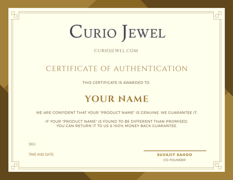 curio jewel certificate of authenticity.