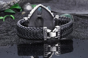 Skull With Wing Leather Bracelet - Curio Jewel