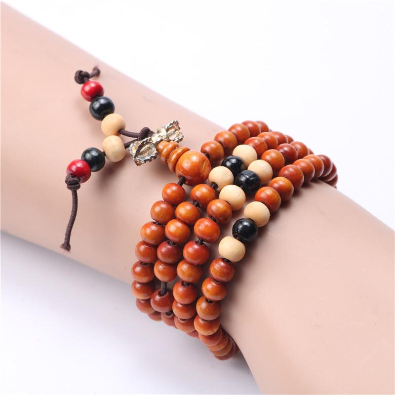 Wooden 108 Beads Buddha Bracelet - Curio Jewel