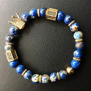 Crown Charm Bracelet in Blue - Curio Jewel