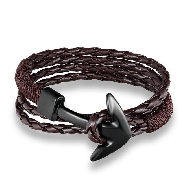 Classic Leather Anchor Bracelets