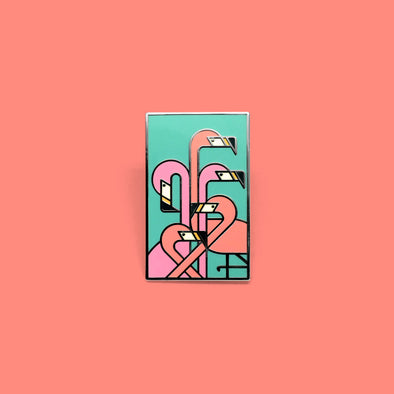 Art Deco Flamingos Pin
