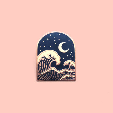 Wave & Moon Enamel Pin