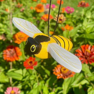 Hand-Carved Honeybee Ornament