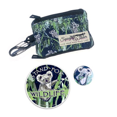 Koala Friends Clip Wallet, Sticker & Button Set