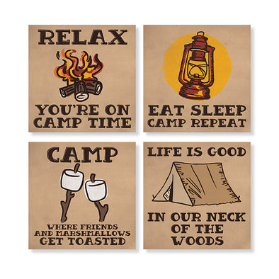 Eat Sleep Camp Stone Coaster Set