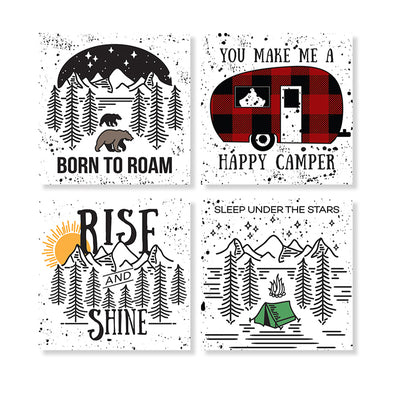 Happy Camper Stone Coaster Set
