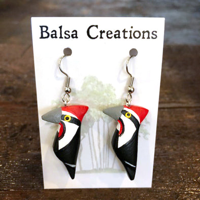 Woodpecker Balsa Earrings