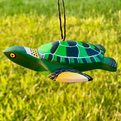 Hand-Carved Pacific Sea Turtle Ornament