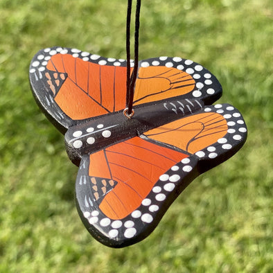 Hand-Carved Monarch Butterfly Ornament