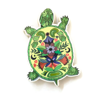 Floral Box Turtle Vinyl Sticker