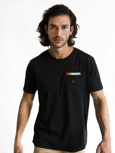Black Rainbow Pocket Detail T-shirt PRE-ORDER