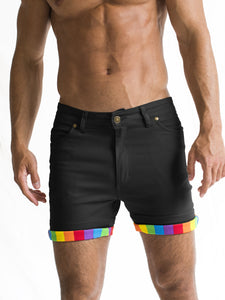 Black Roll-up Rainbow Short Shorts PRE-ORDER