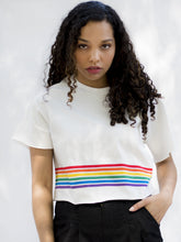 California Off-white Striped Crop Top