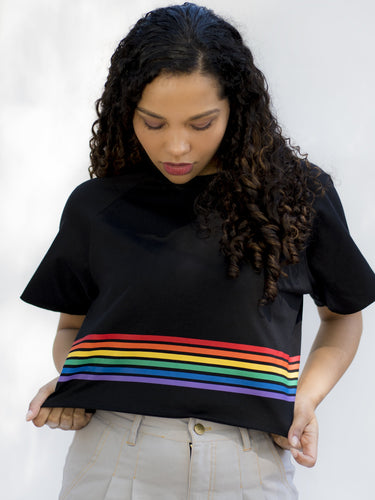 California Black Striped Crop Top - PRE-ORDER