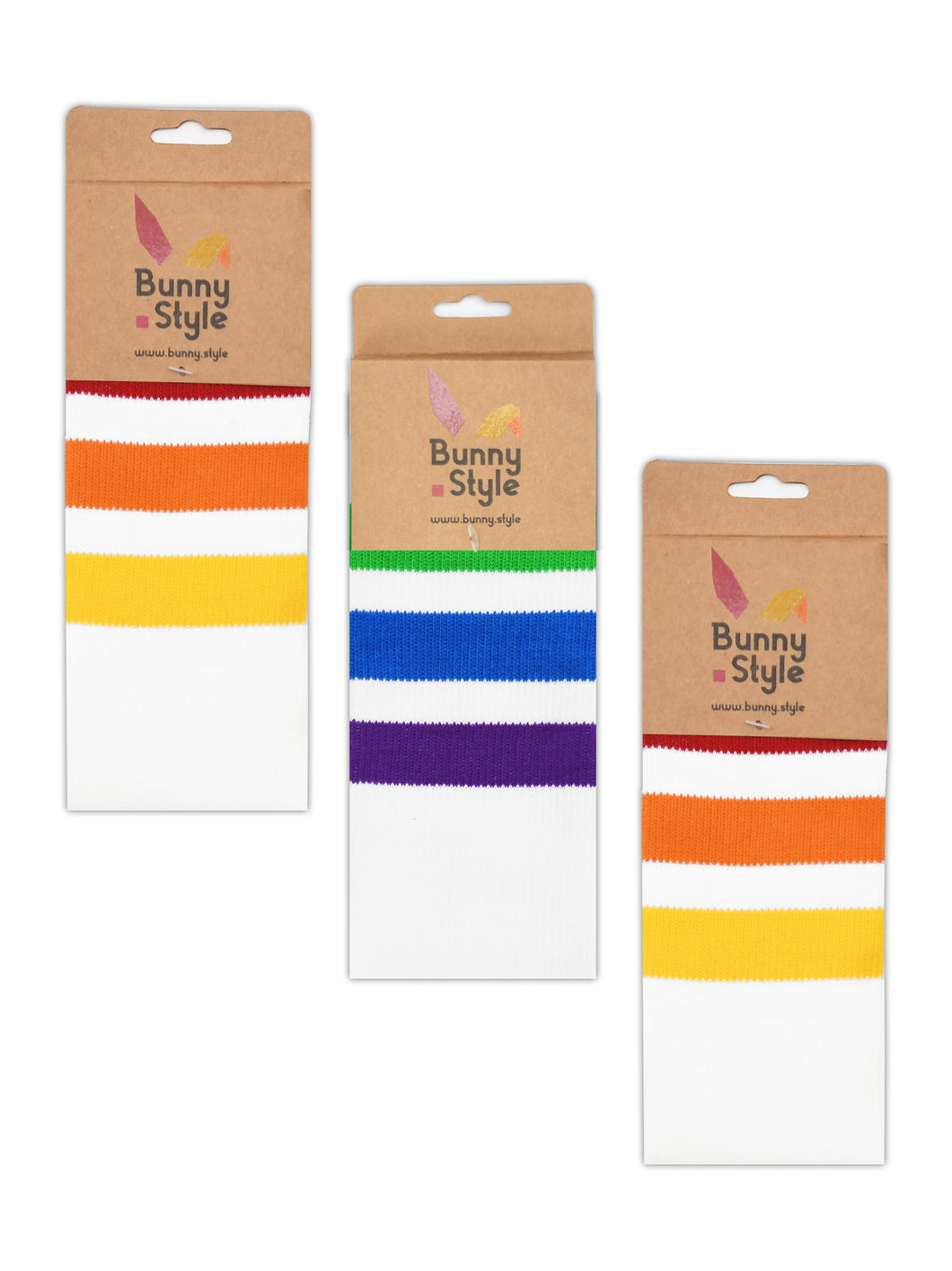 Gay LGBT Rainbow Pride Socks - BunnyStyle Pride Bunny London Collection - White Retro Socks - 3 Pack