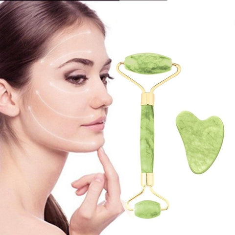 Anti-aging Jade Roller & Gua Sha Face Massager Set - Natural Remedies Direct