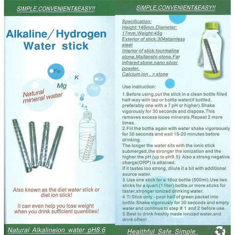 3pcs Alkaline Water Stick Hydrogen Ion Ionizer Purifier - Natural Remedies Direct