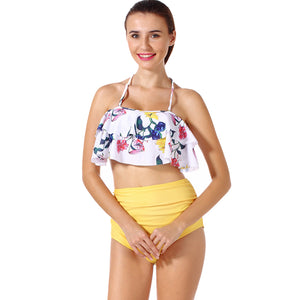 Madalyn Flounce Top With High Waist Bikini Set