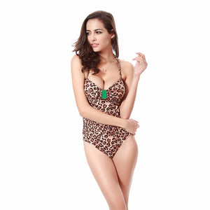 Lily Print Leopard One Piece Swimsuit