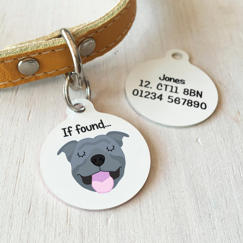staffordshire bull terrier dog tag and dogs id tags for staffie pets