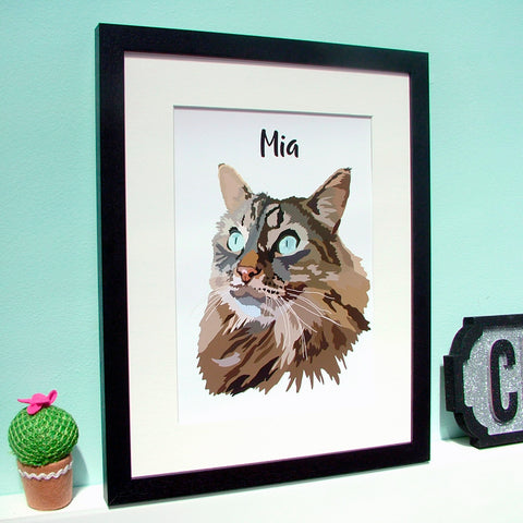 Custom Contemporary Cat Portrait Personalised