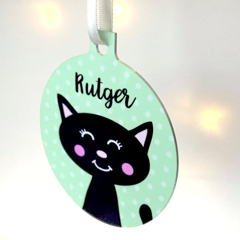 Cat Hanging Bauble Personalised Christmas Decoration