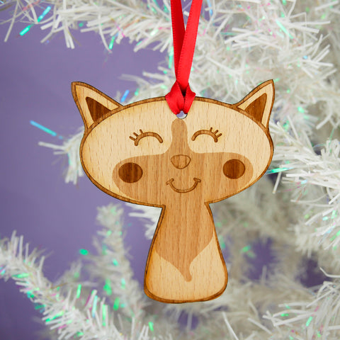 Wooden Cat Christmas Tree Decoration