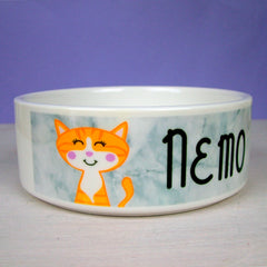 personalised marble cat bowl