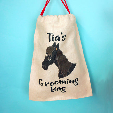 horse grooming back, personalised , christmas sack
