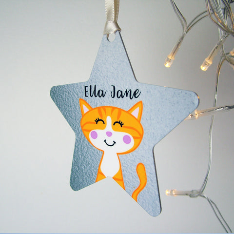 Silver Printed Personalised Cat Christmas Decoration