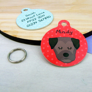 Border Terrier Personalised Pet Name Tag  - Hoobynoo - Personalised Pet Tags and Gifts