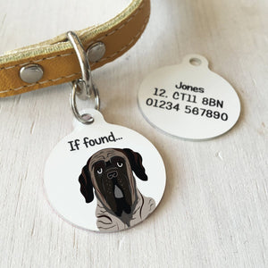 English Mastiff Personalised name ID Tag - White  - Hoobynoo - Personalised Pet Tags and Gifts