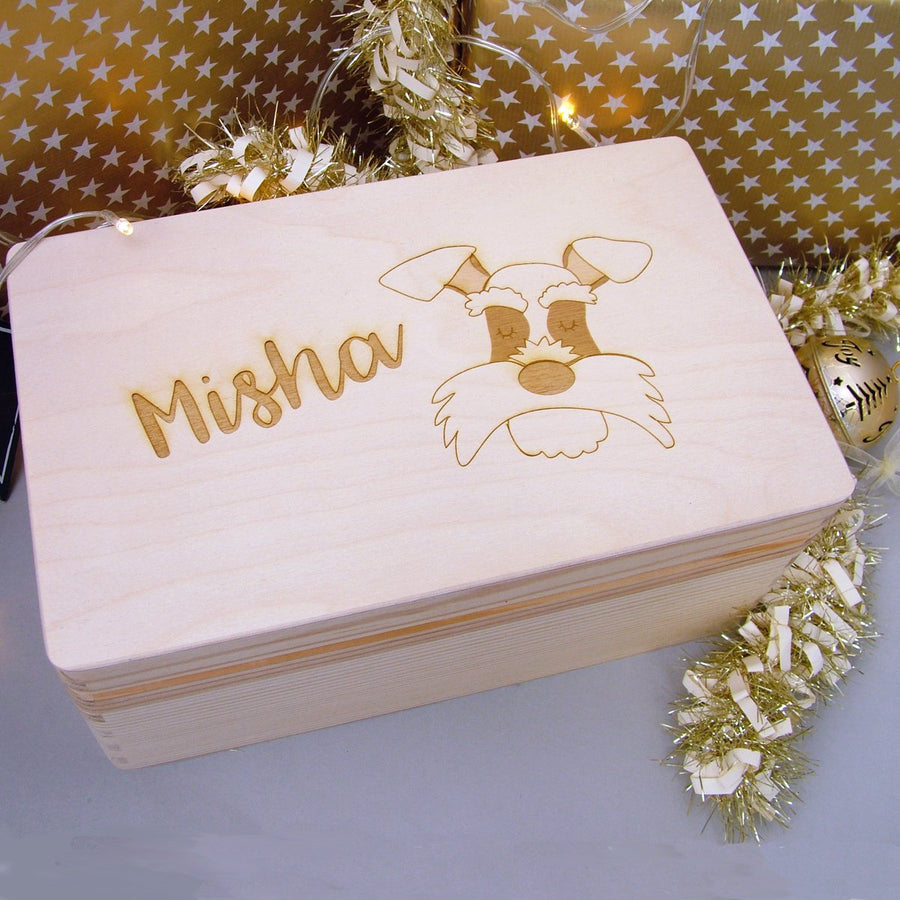 Personalised Wooden Dog Christmas Eve Box