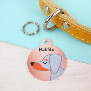 Dachshund Copper Print Dog Tag
