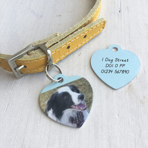 Photo Pet ID Tag Heart Personalised  - Hoobynoo - Personalised Pet Tags and Gifts