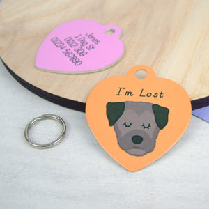 Personalised Border Terrier Dog ID Tag - HEART  - Hoobynoo - Personalised Pet Tags and Gifts