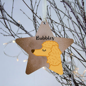 Personalised Poodle Christmas Tree Decoration - Copper Print  - Hoobynoo - Personalised Pet Tags and Gifts